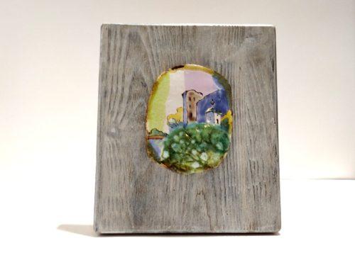 """Декоративное панно из керамики """"Изборск"""" на брашированной доске"""